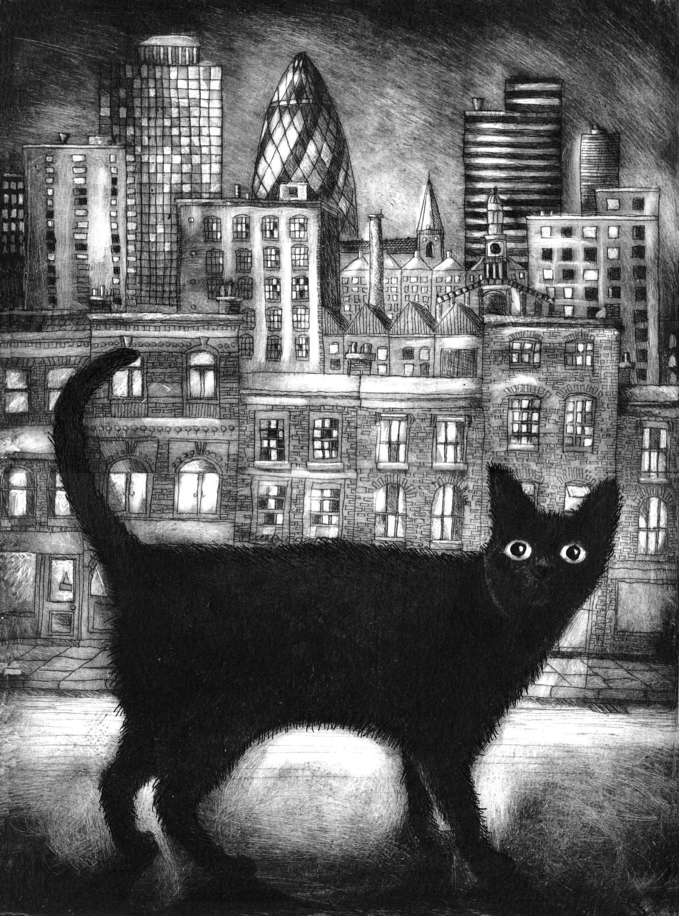 London Moggie Drypoint Cats Cats Cats Pinterest