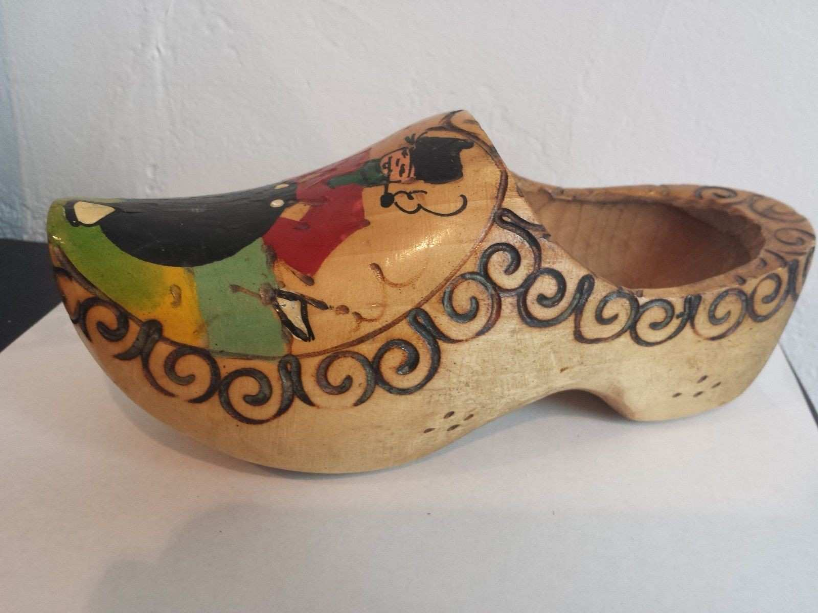 VINTAGE Wooden Dutch Clog Made in Holland WALL DECOR picclick
