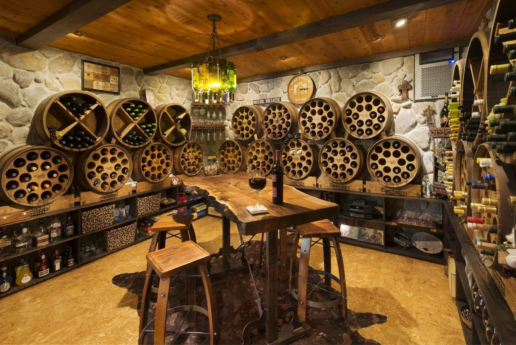 Rage Aweso Rustic Traditional Wine Cellar Room Design With Oration