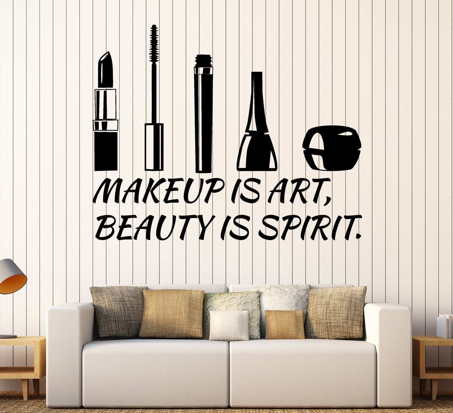 Vinyl Wall Decal Beauty Salon Quote Cosmetics Makeup Stickers Unique