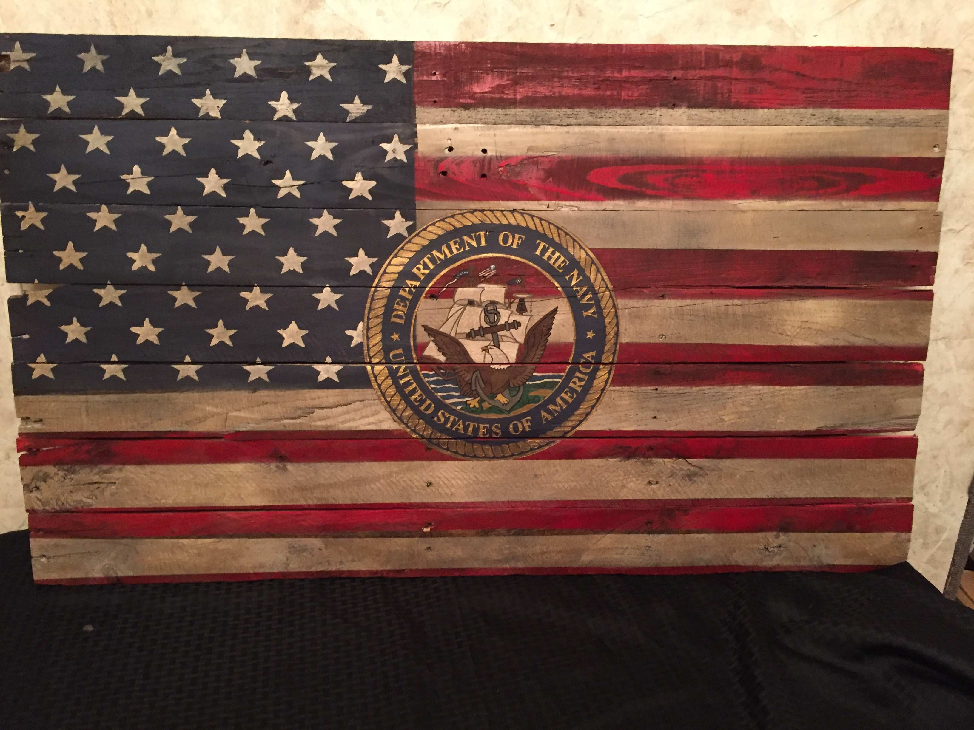 3 x2 Reclaimed Wood Distressed Flag with Military Logo Rugged