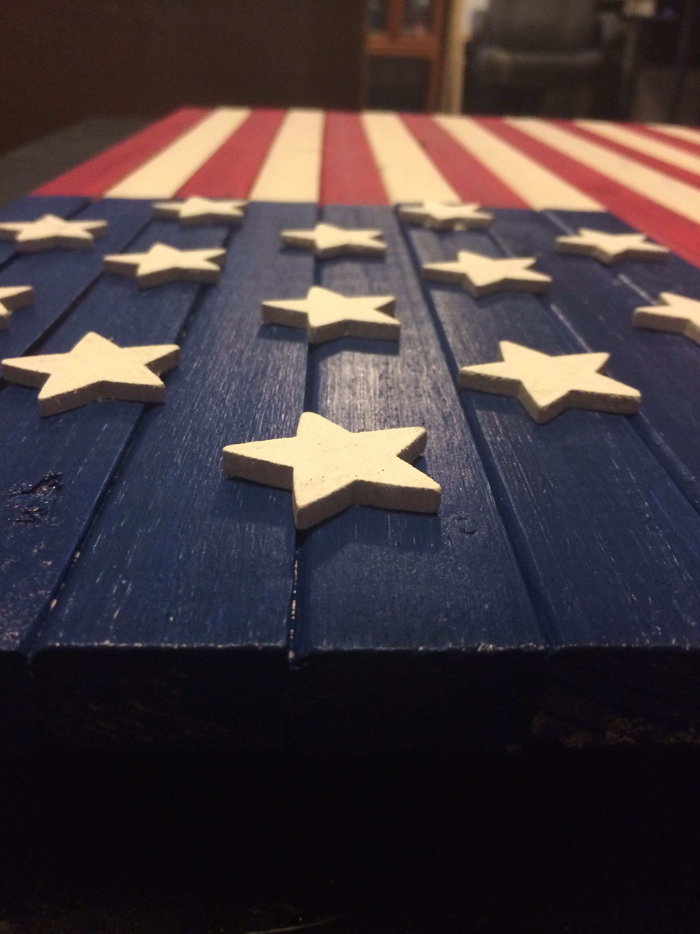 Custom rustic made to order wooden American flag for wall