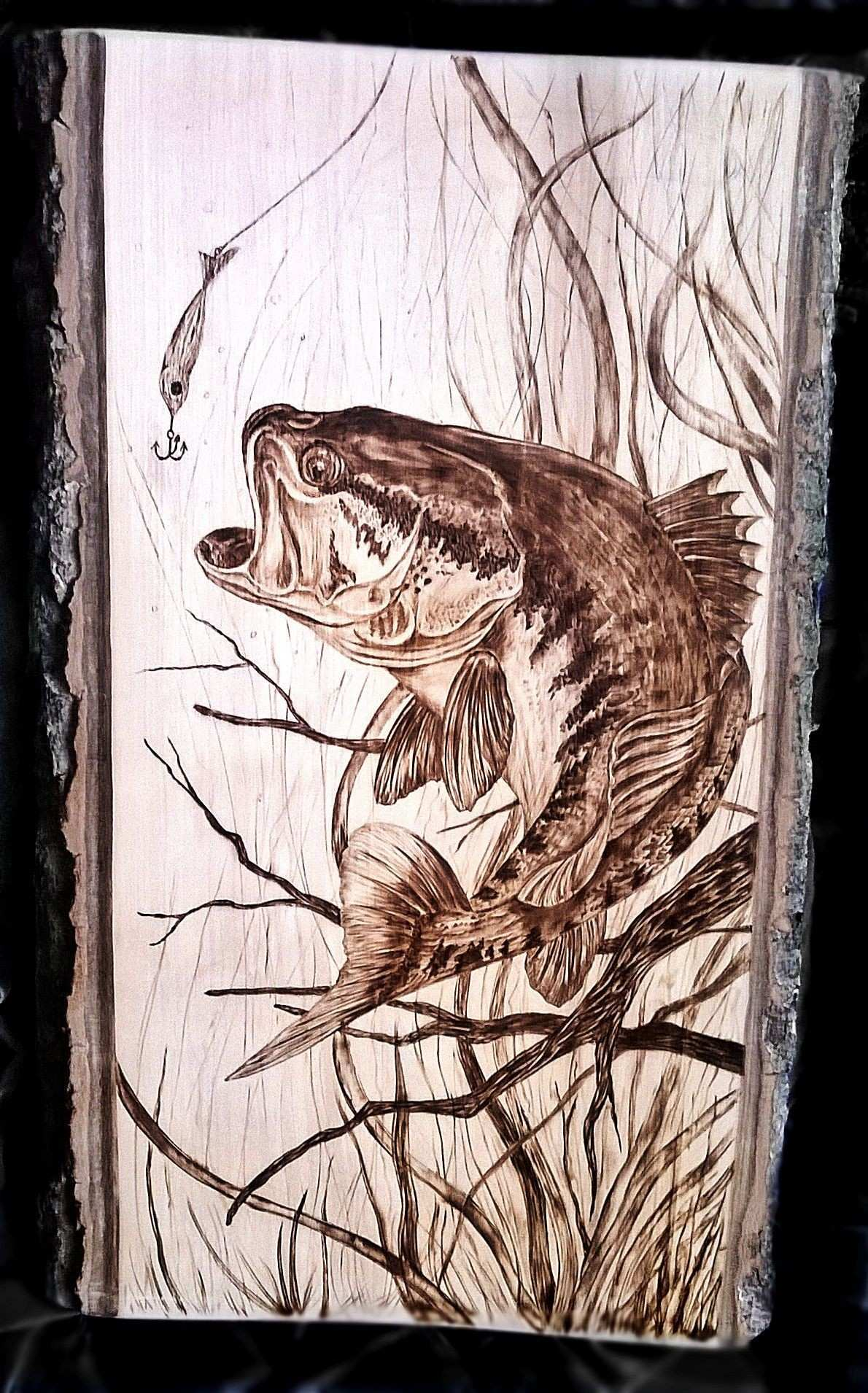 bass fish pyrography woodburning by art caren dboam0j 1 190