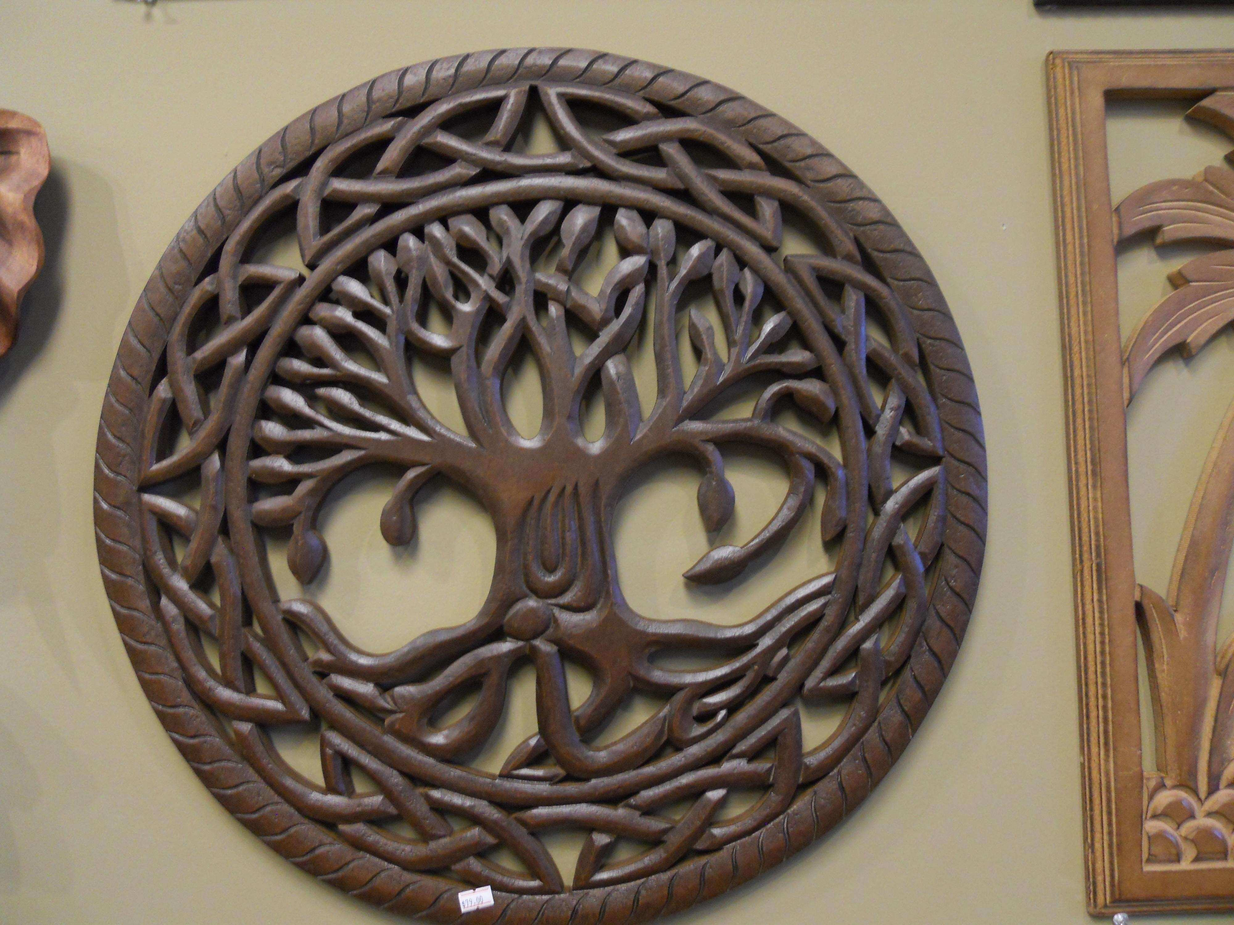 Exciting Wood Carved Wall Art Home Design Artwork White Round