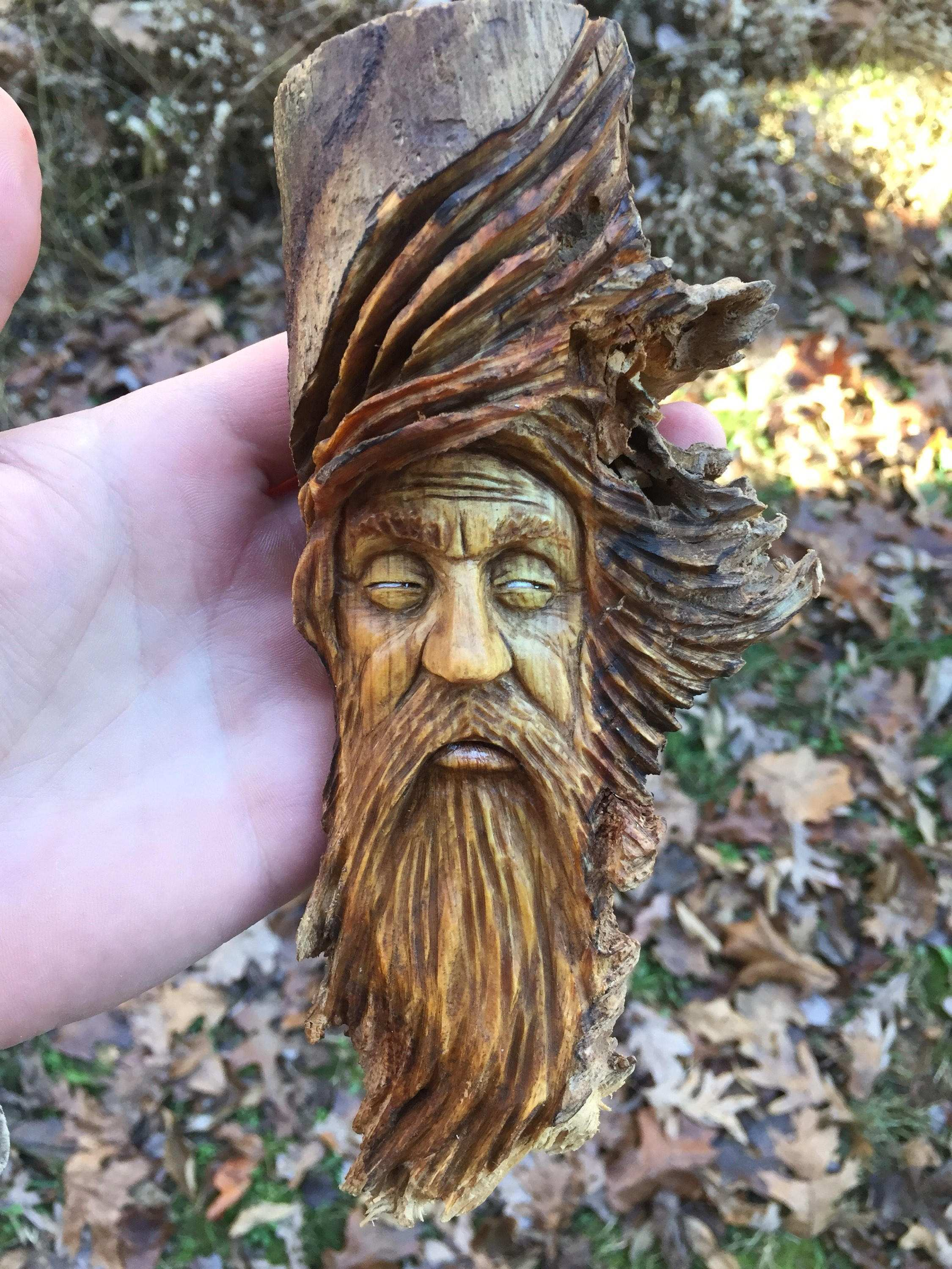 Wood Carving Wood Spirit Carving Rustic Decor Hand Carved Old