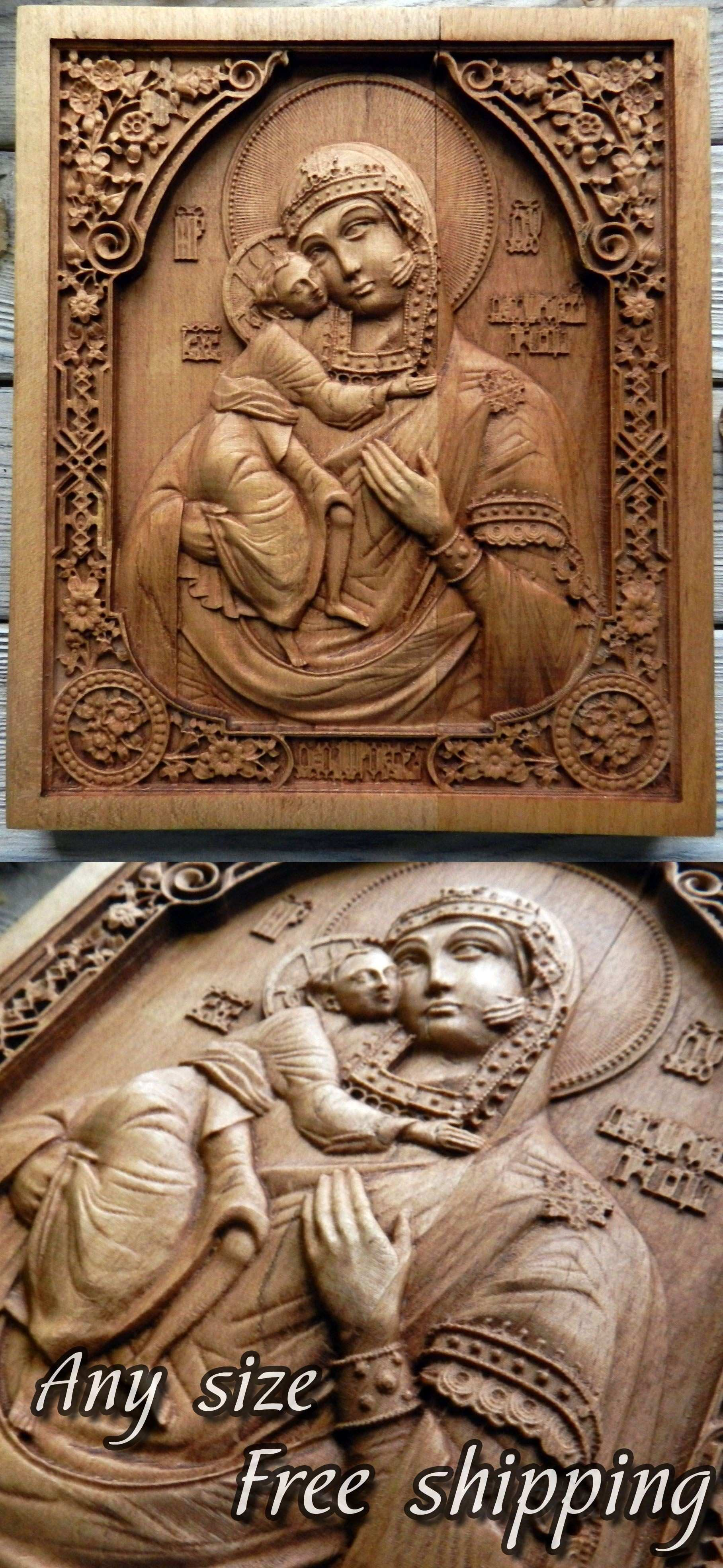 Christian wall decor art Virgin Mary wood carving religious icon