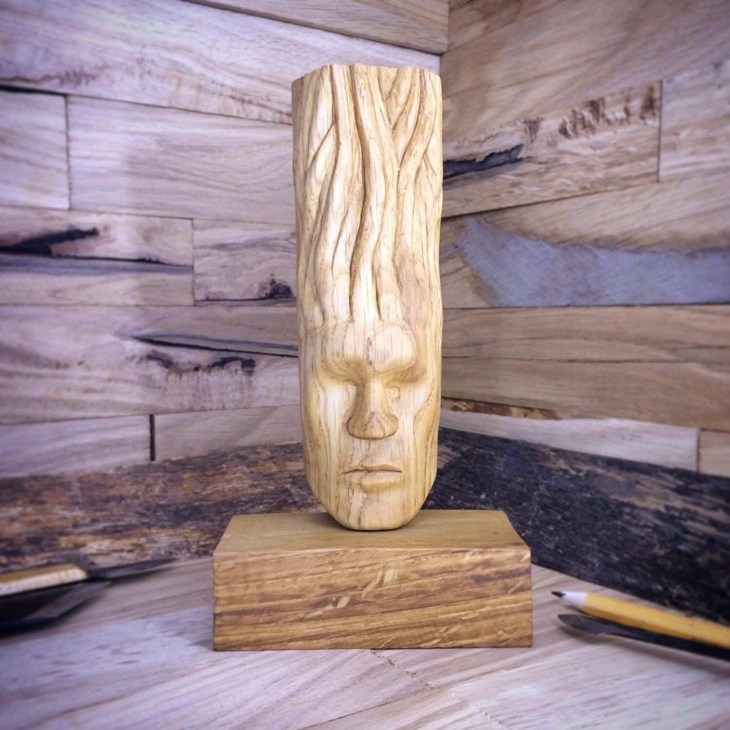 Wood abstract modern art sculpture t Blind Calmness face unique