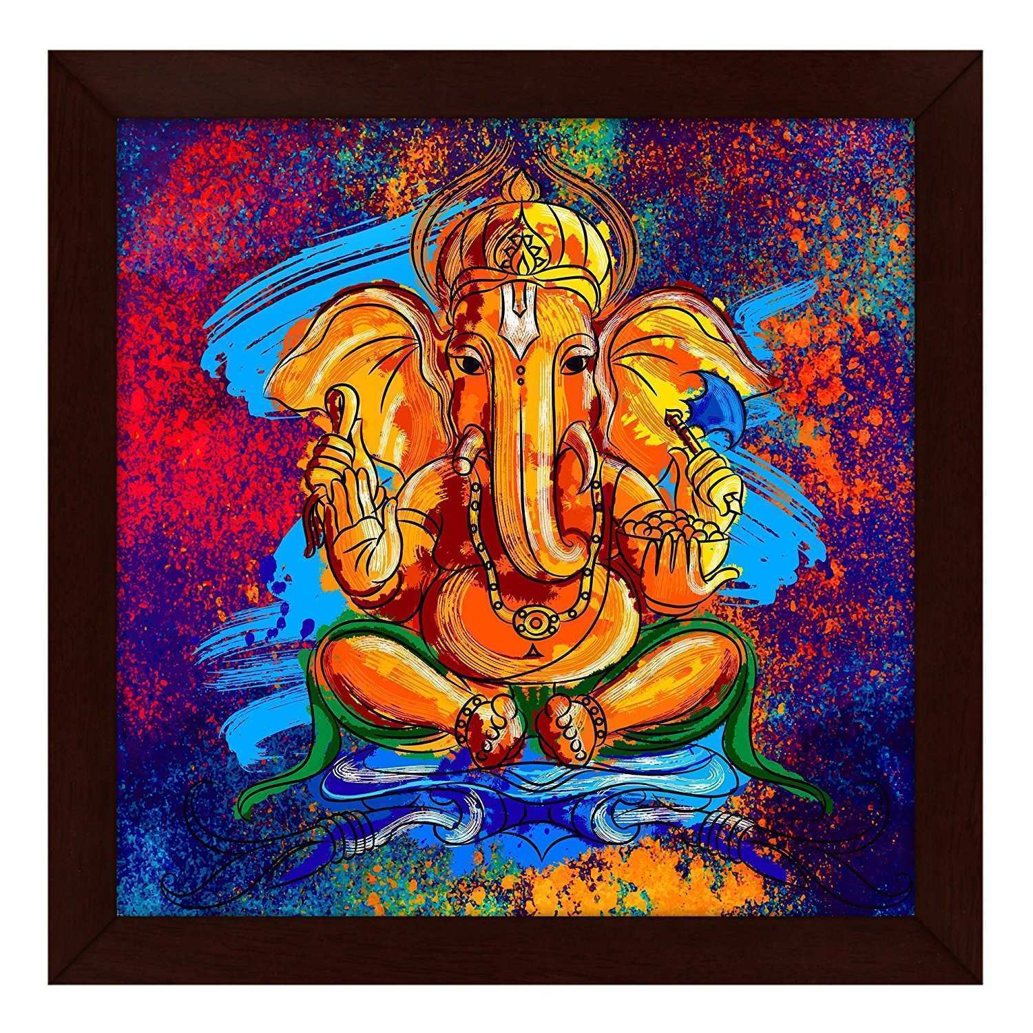 Story Home Artistically Designed Ganesha Framed Wall Art Painting