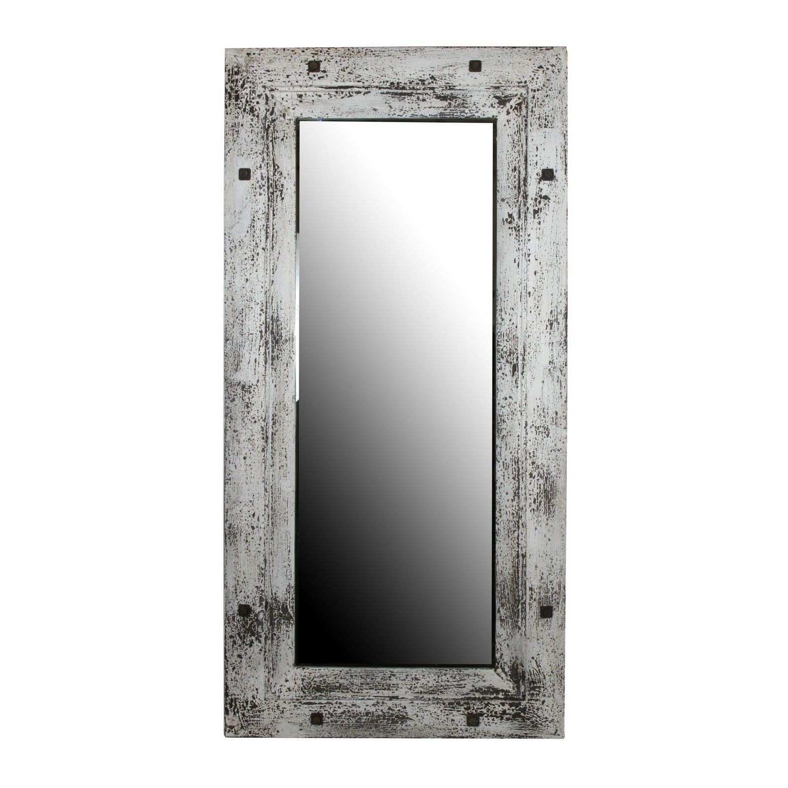 The distressed wood frame of this mirror adds a sense of rustic