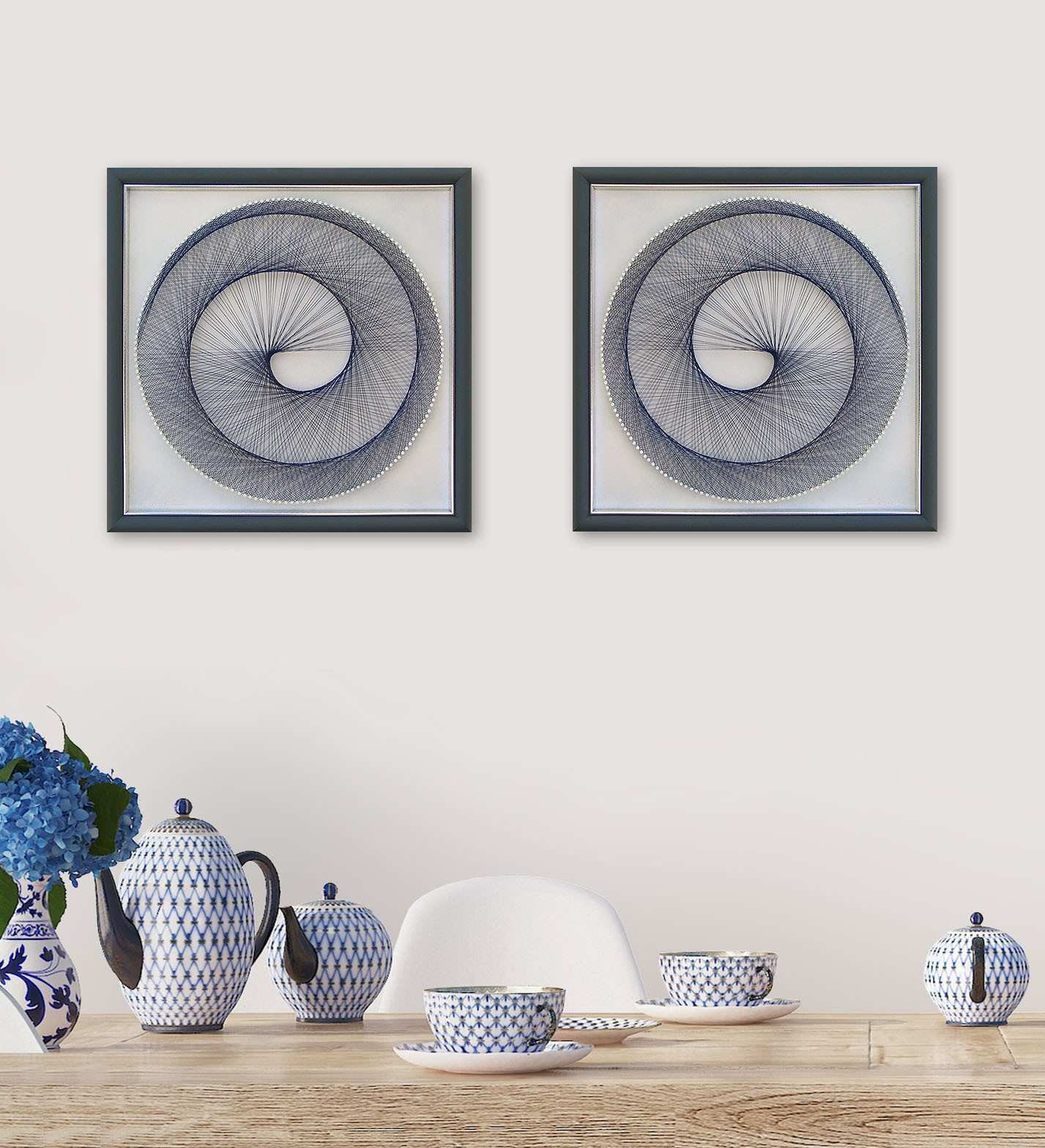 Spiral in Light Blue – String Art Set – Framed Wall Art
