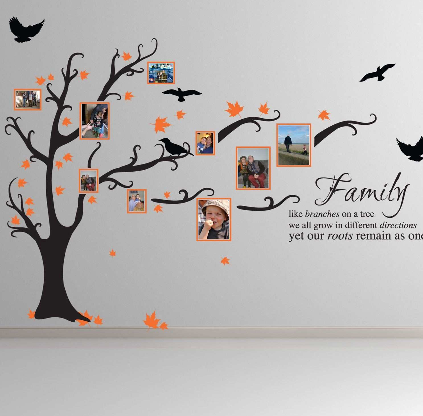 Family tree bird art wall stickers quotes decals ft1