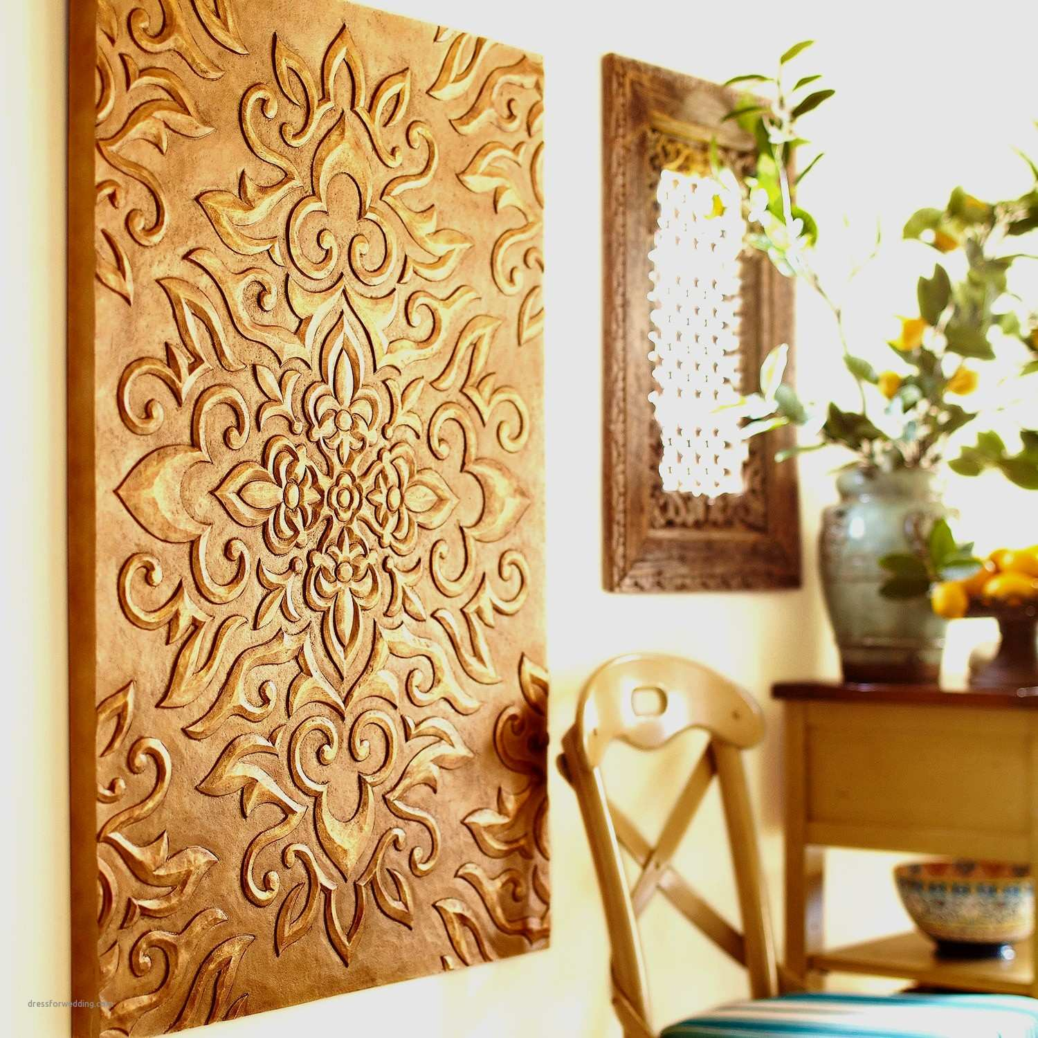 Magnificent Carved Wood Wall Decor Festooning Wall Art Collections