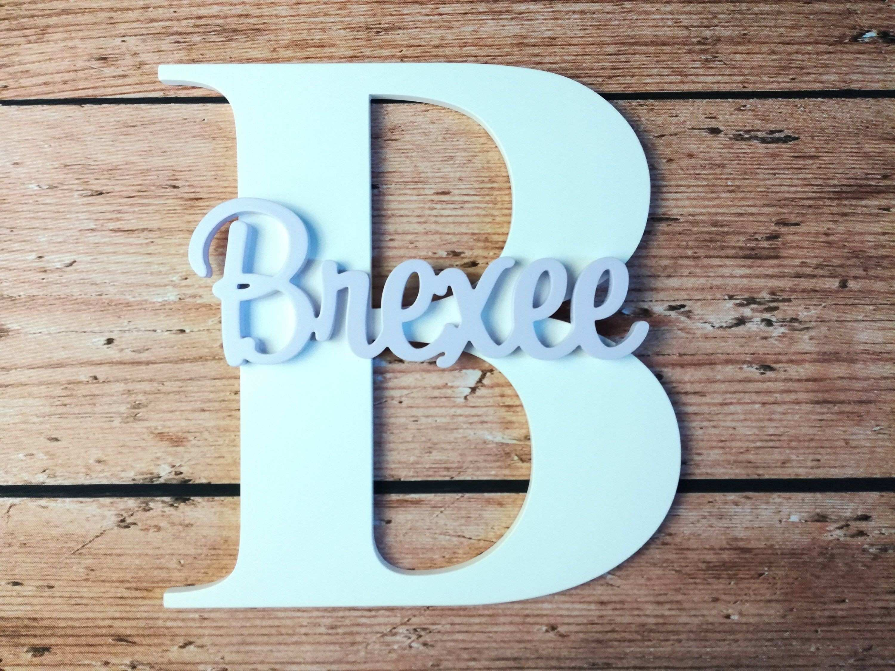 Wood Monogram Wall Decor New Nursery Letters Name Baby Custom Sign