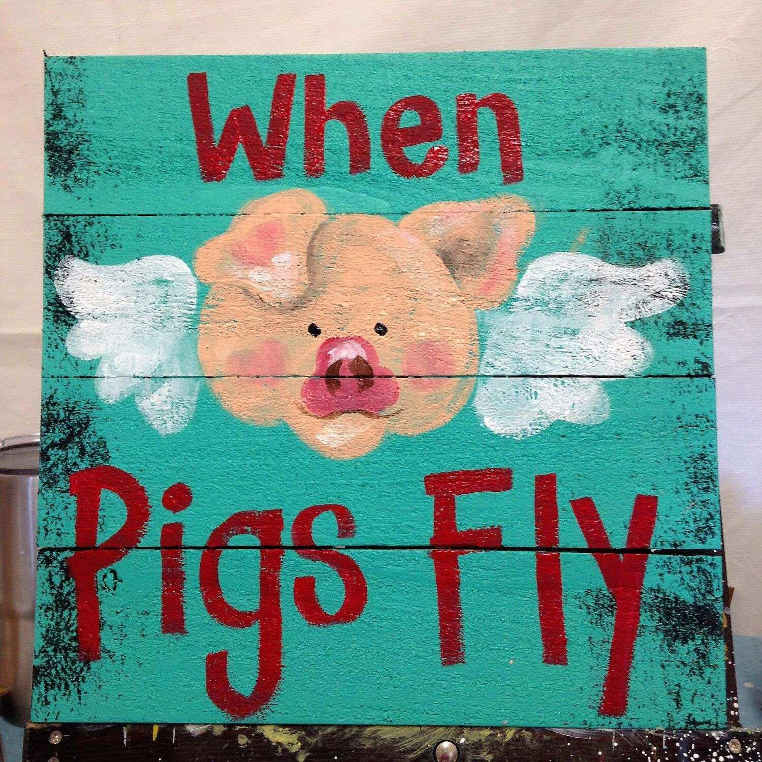 When Pigs Fly Sign Wood Pallet Wall Hanging Angel Wings Country Home