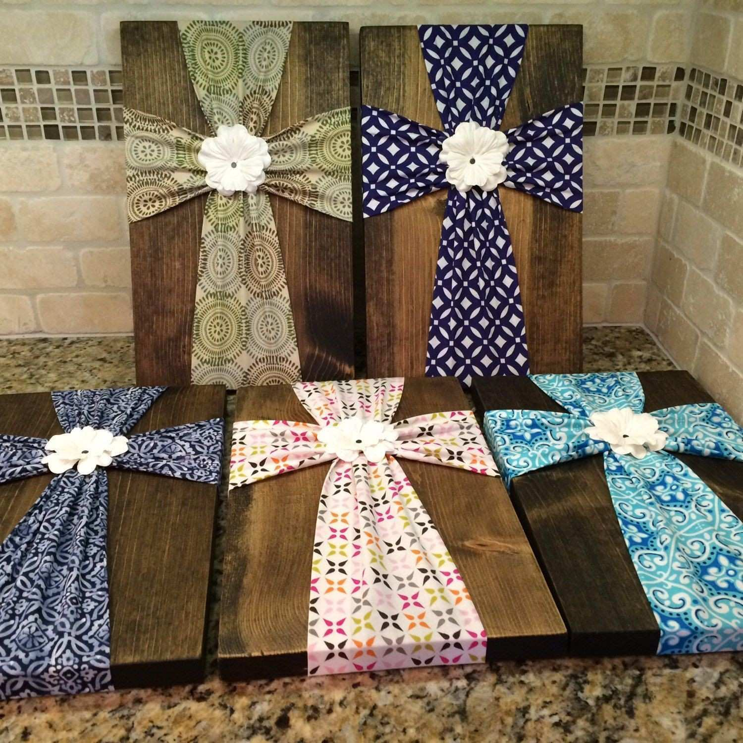 Wall Art Fabric Cross on Wood Plaque with Flower Embellishment