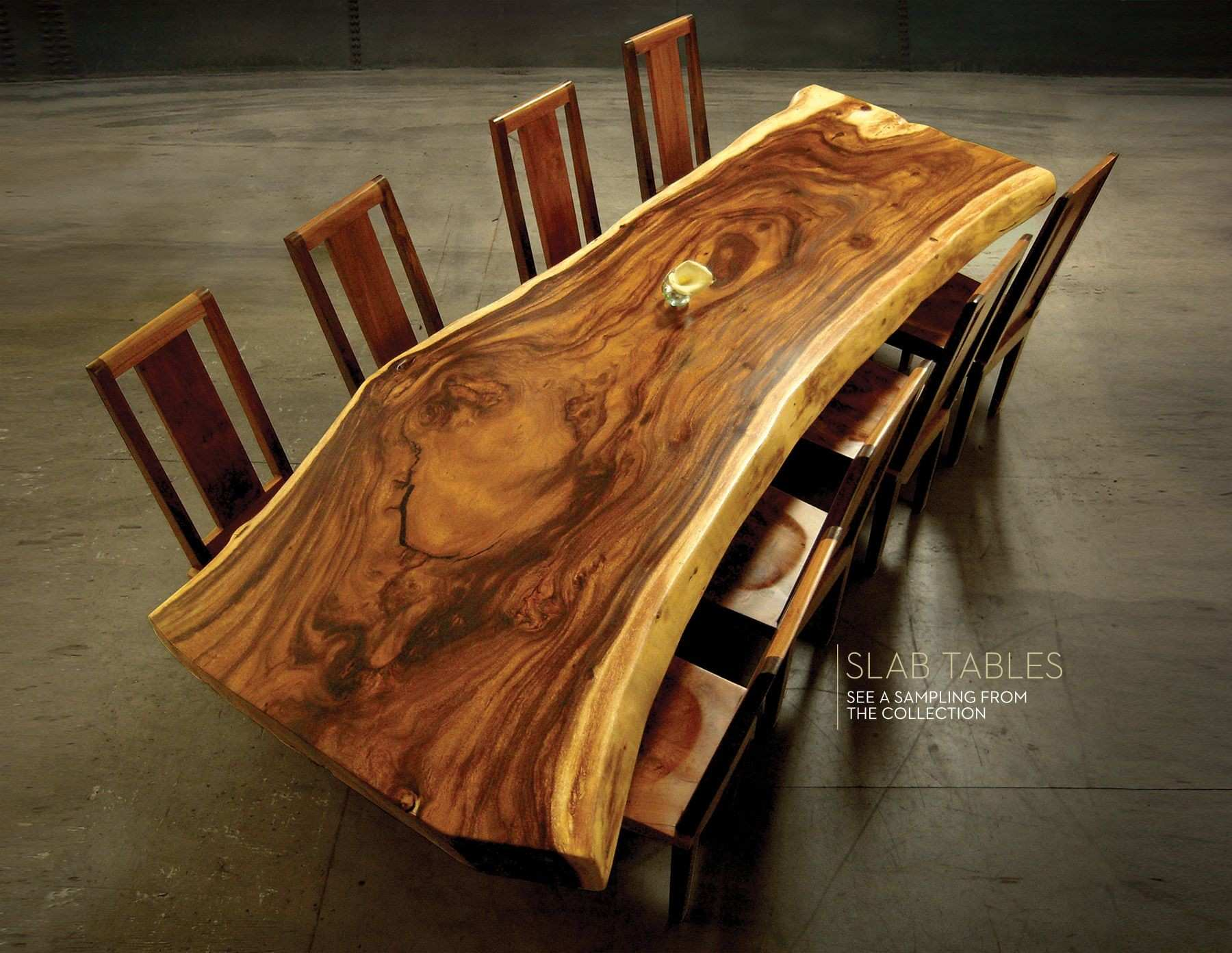 Choose a rare wood slab for a custom slab table from our huge