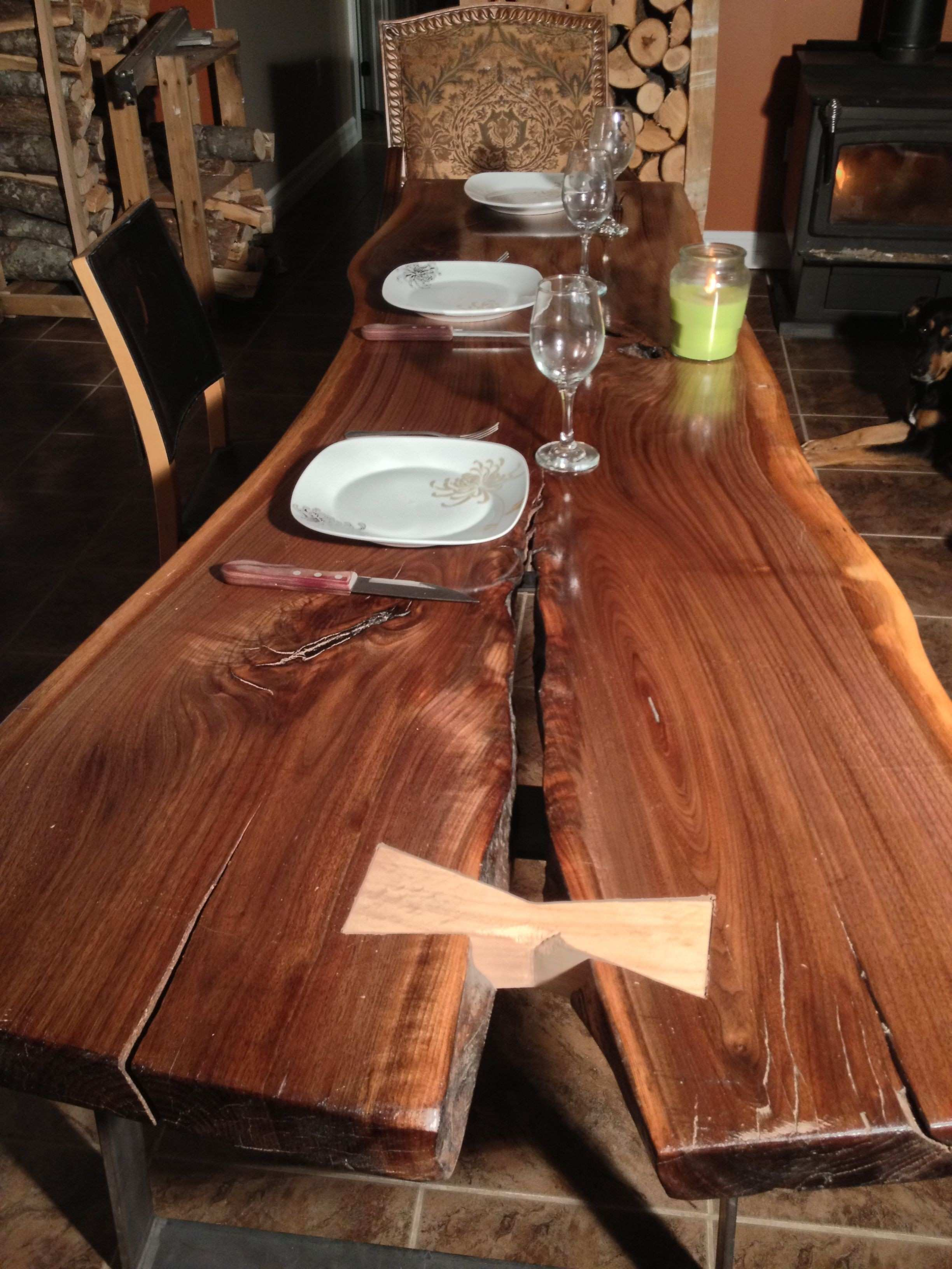 Black Walnut Dining table with Red Oak butterfly or dutchman A true