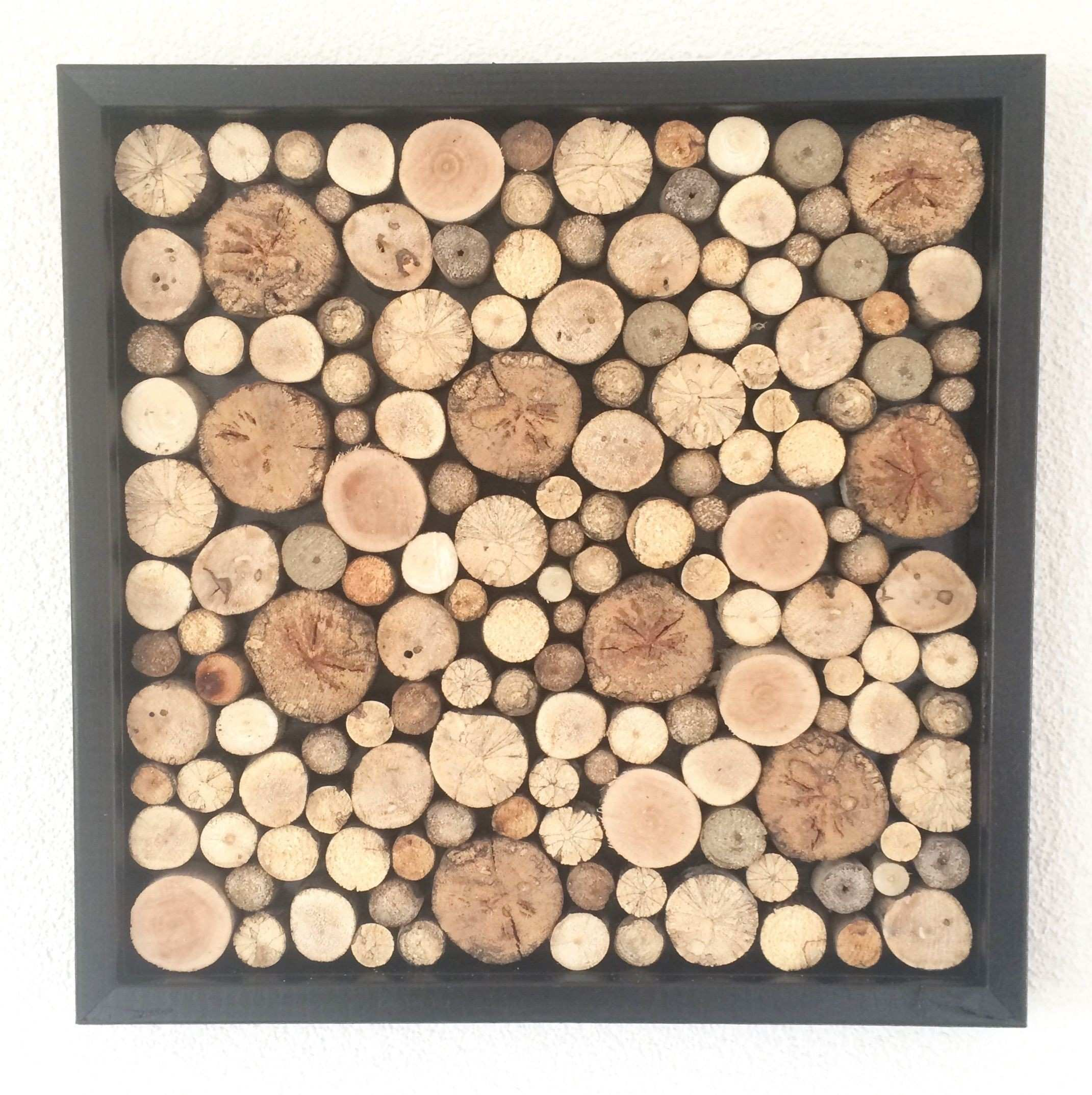 Rustic Wood Slices Wall Art 40 cm x 40 cm Could do this with