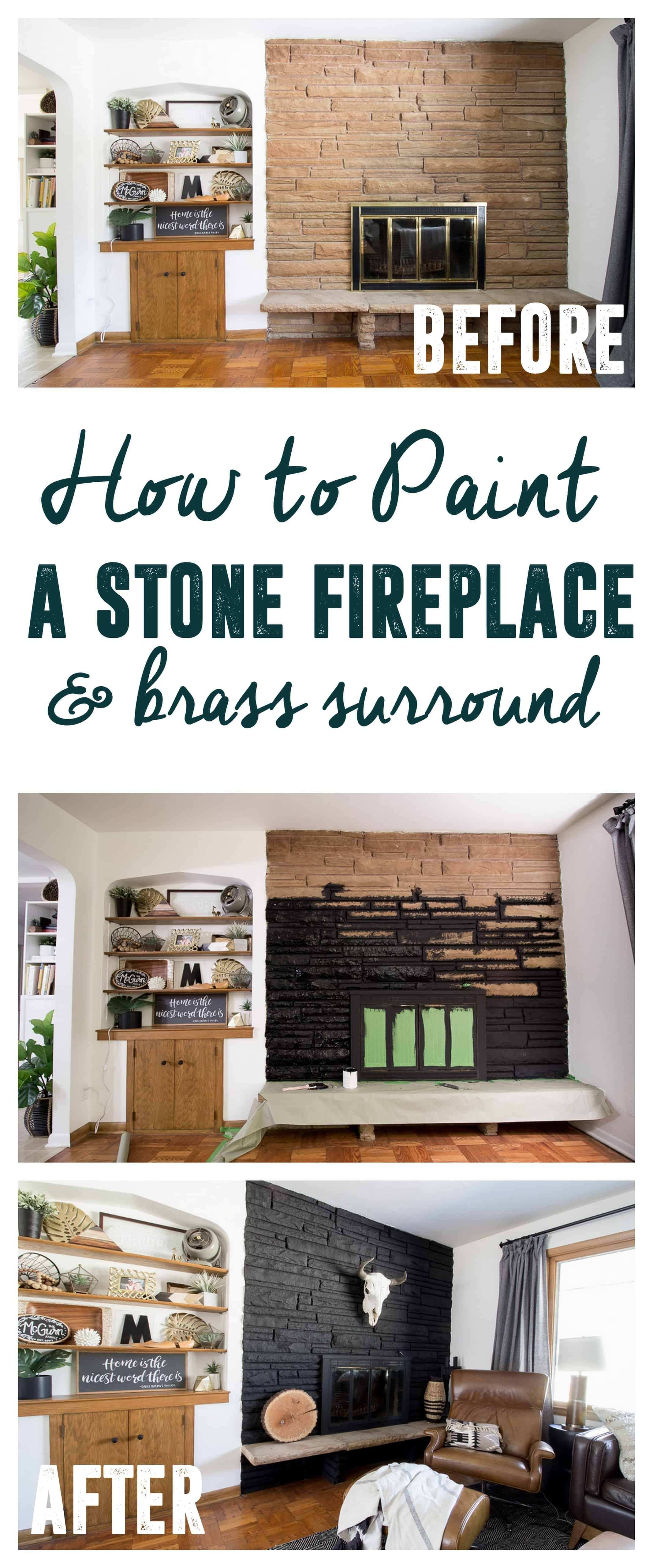 Black Painted Fireplace How to Paint Stone Fireplace