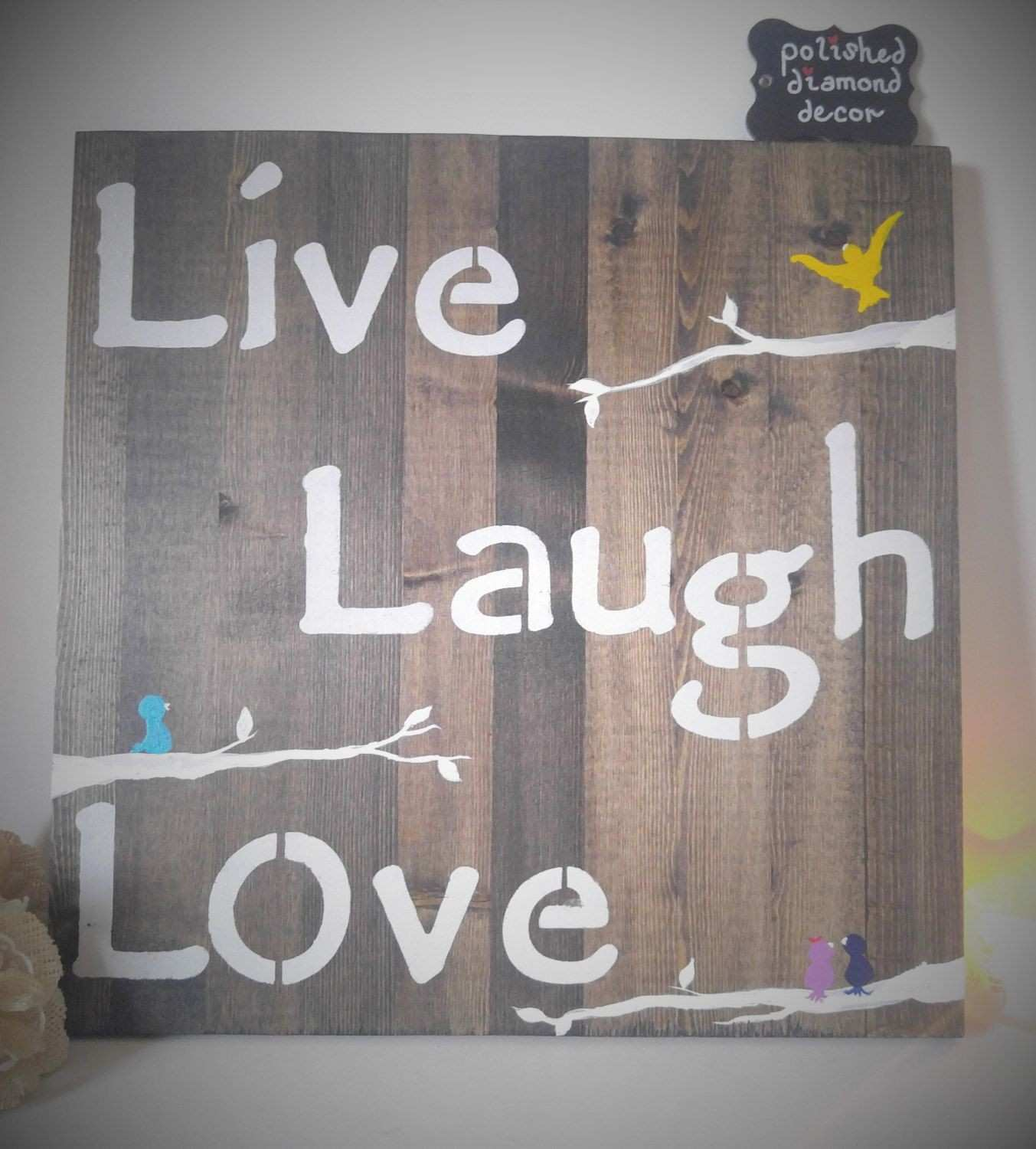Wooden Wall Art Live Laugh Love Family Tree Family Sign
