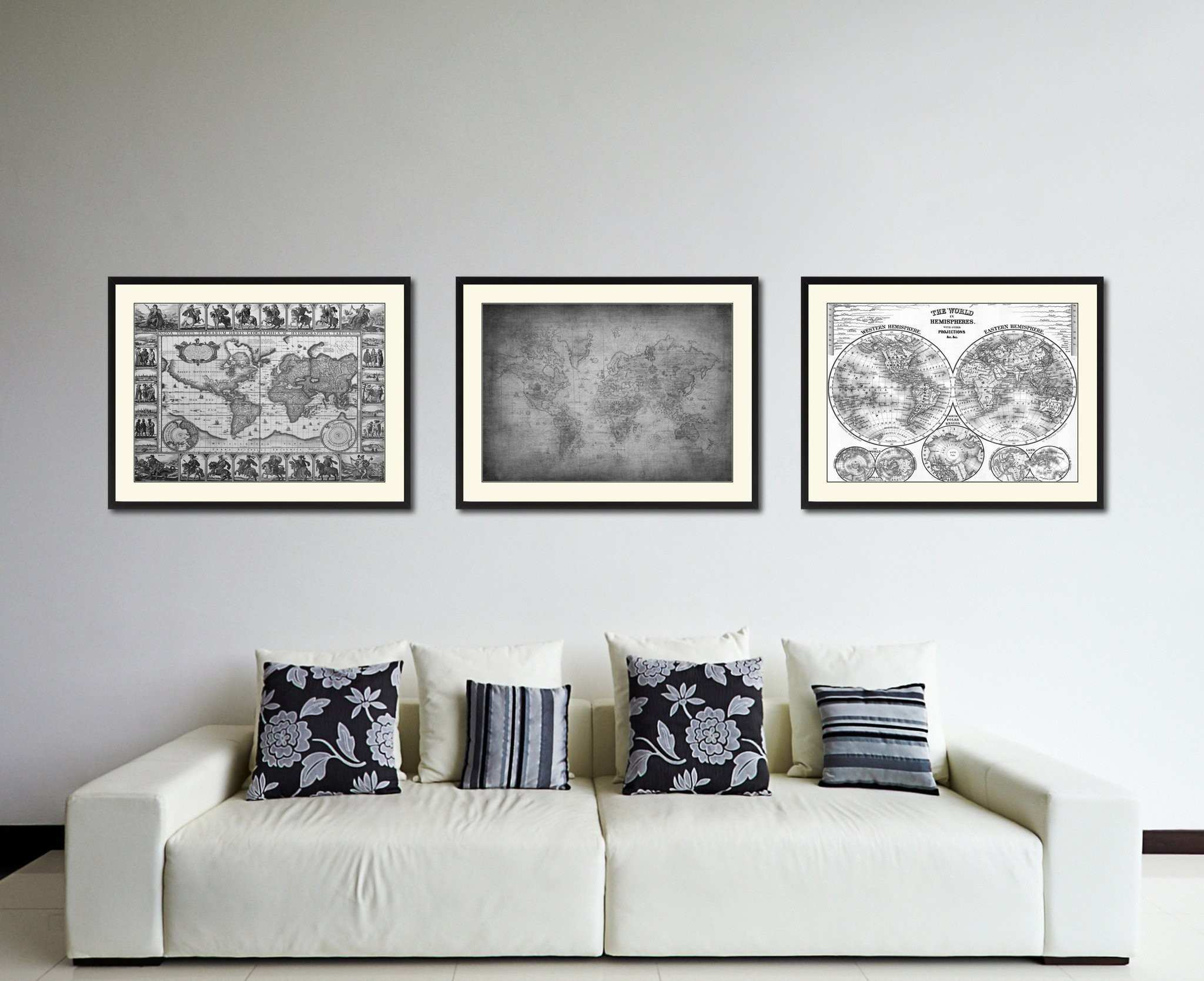 Ancient World Vintage B&W Map Home Decor Wall Art Bedroom
