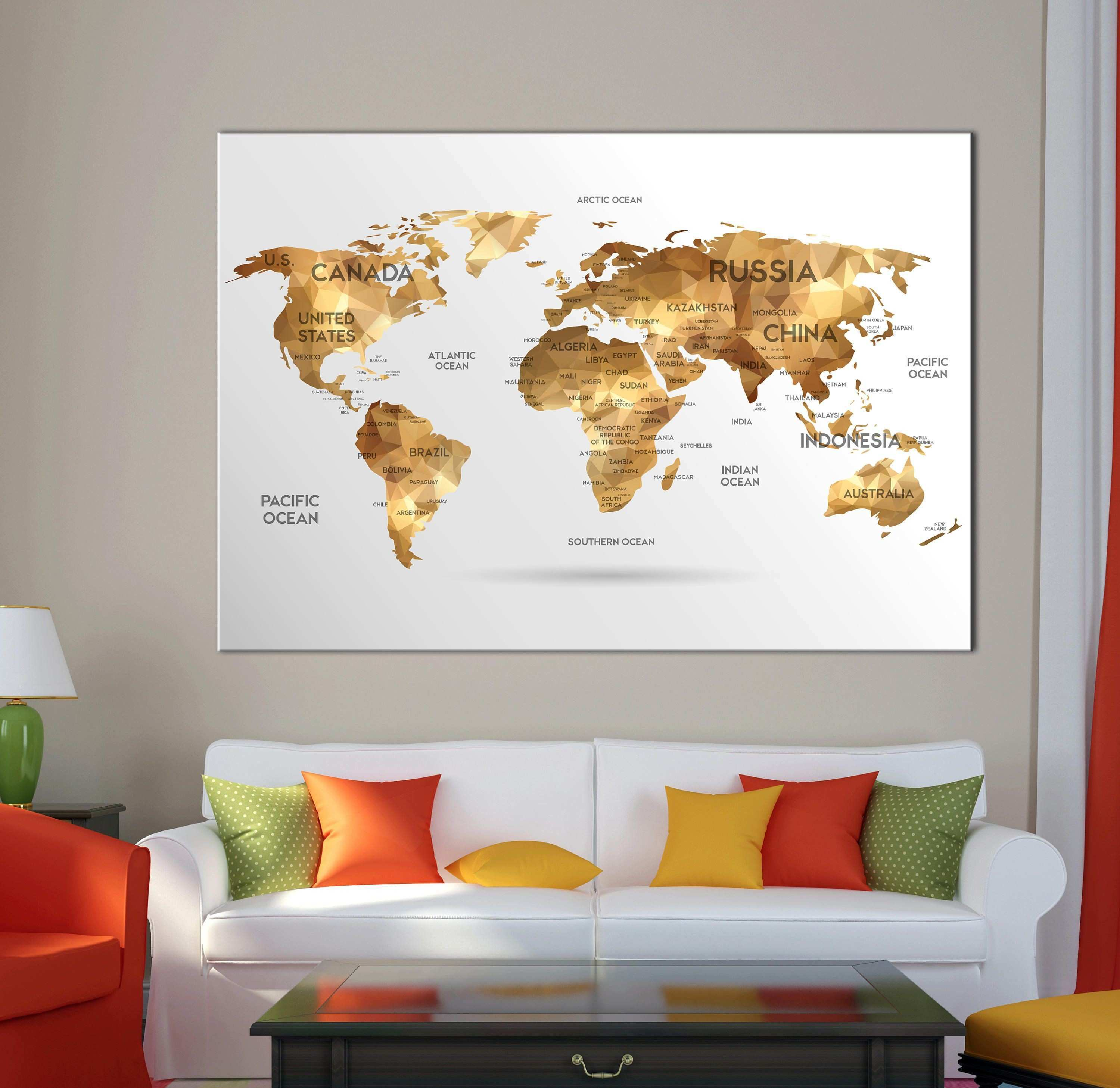 world map wall art with countries names canvas print Extra