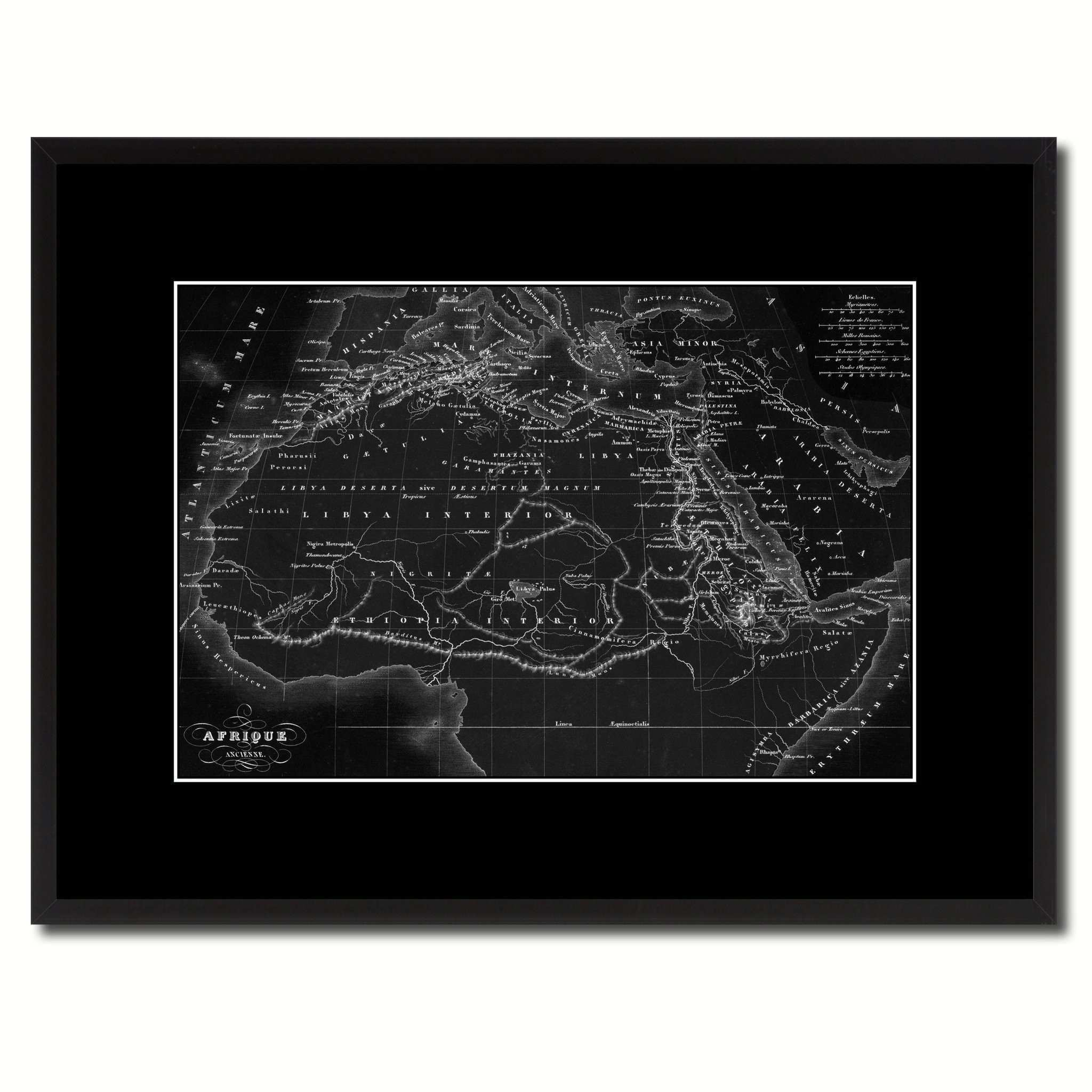 Ancient Africa Vintage Monochrome Map Home Decor Wall Art Bedroom