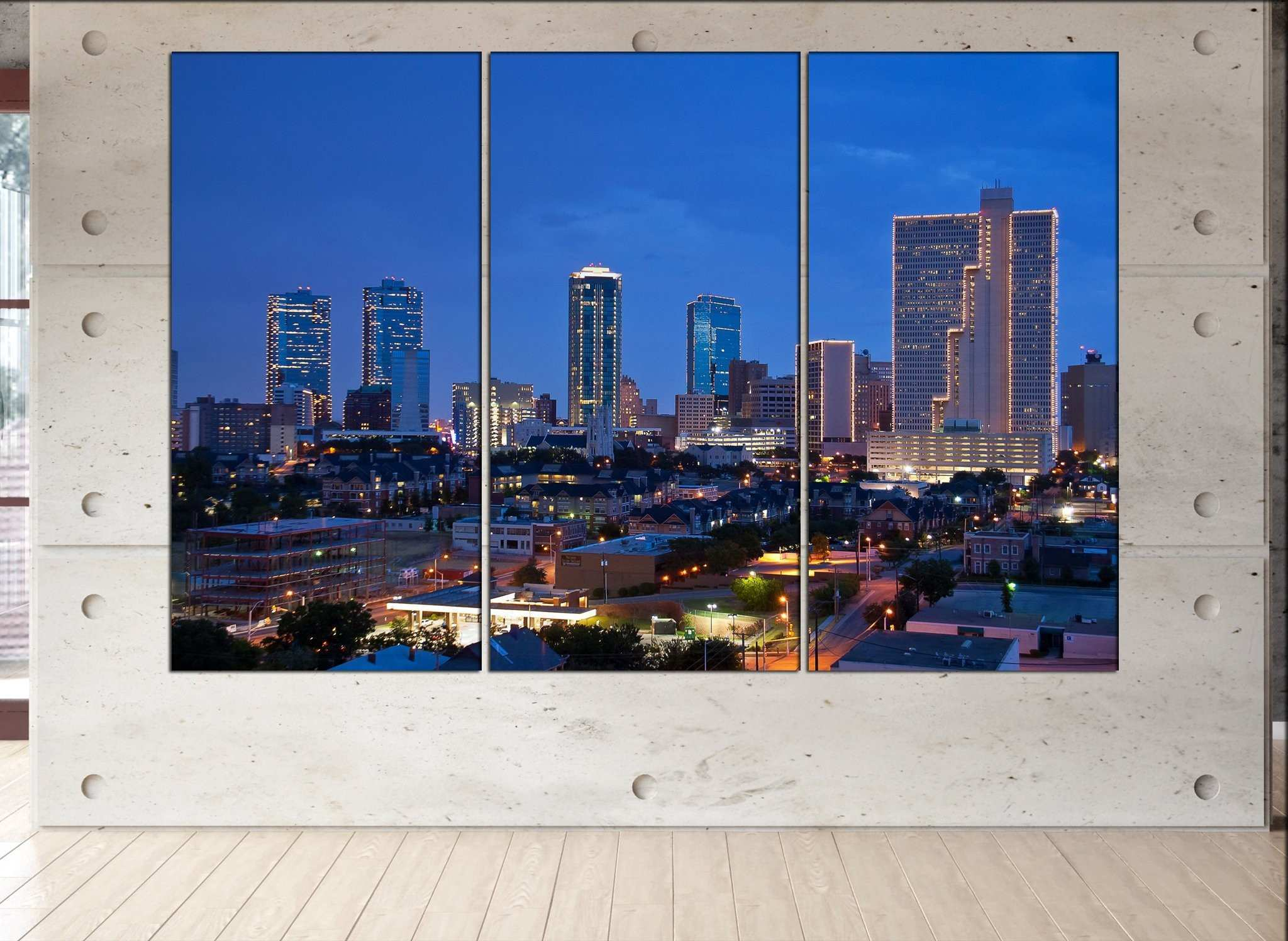 Fort Worth canvas wall art skyline Fort Worth wall decoration Fort