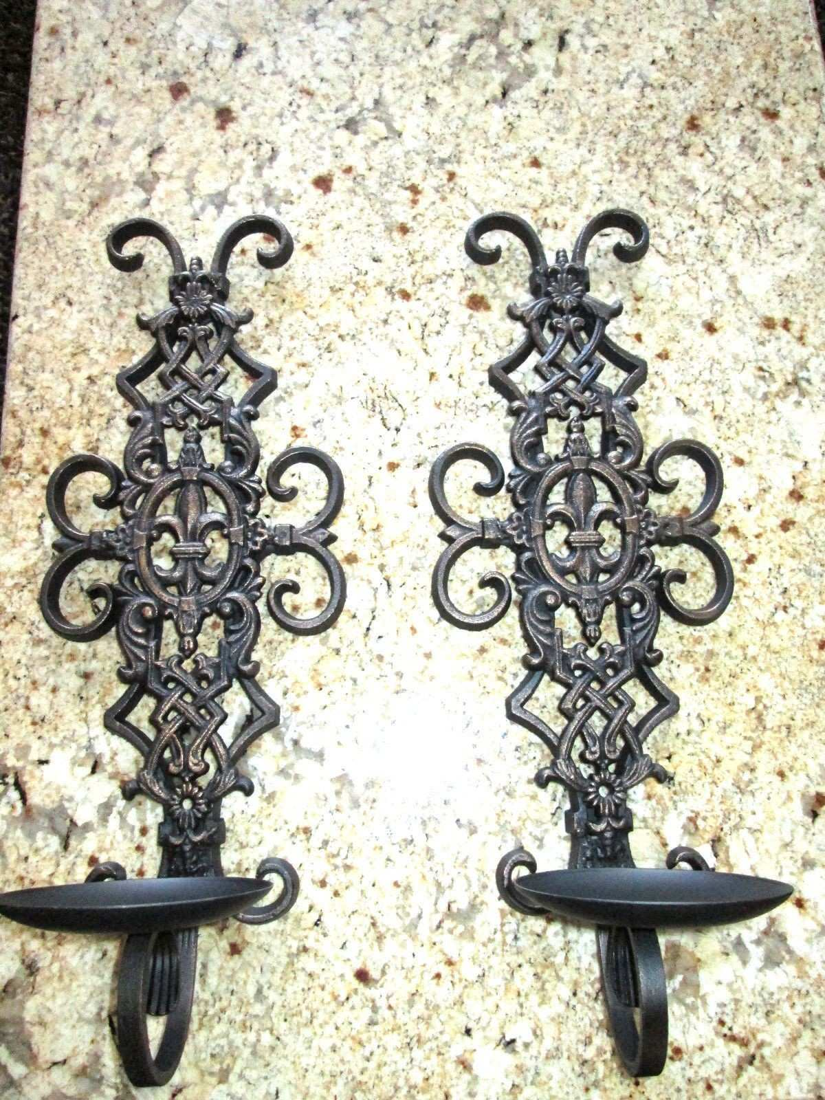 Set of 2 Iron Wall Candle Holders Sconces with Fleur de Lis Old