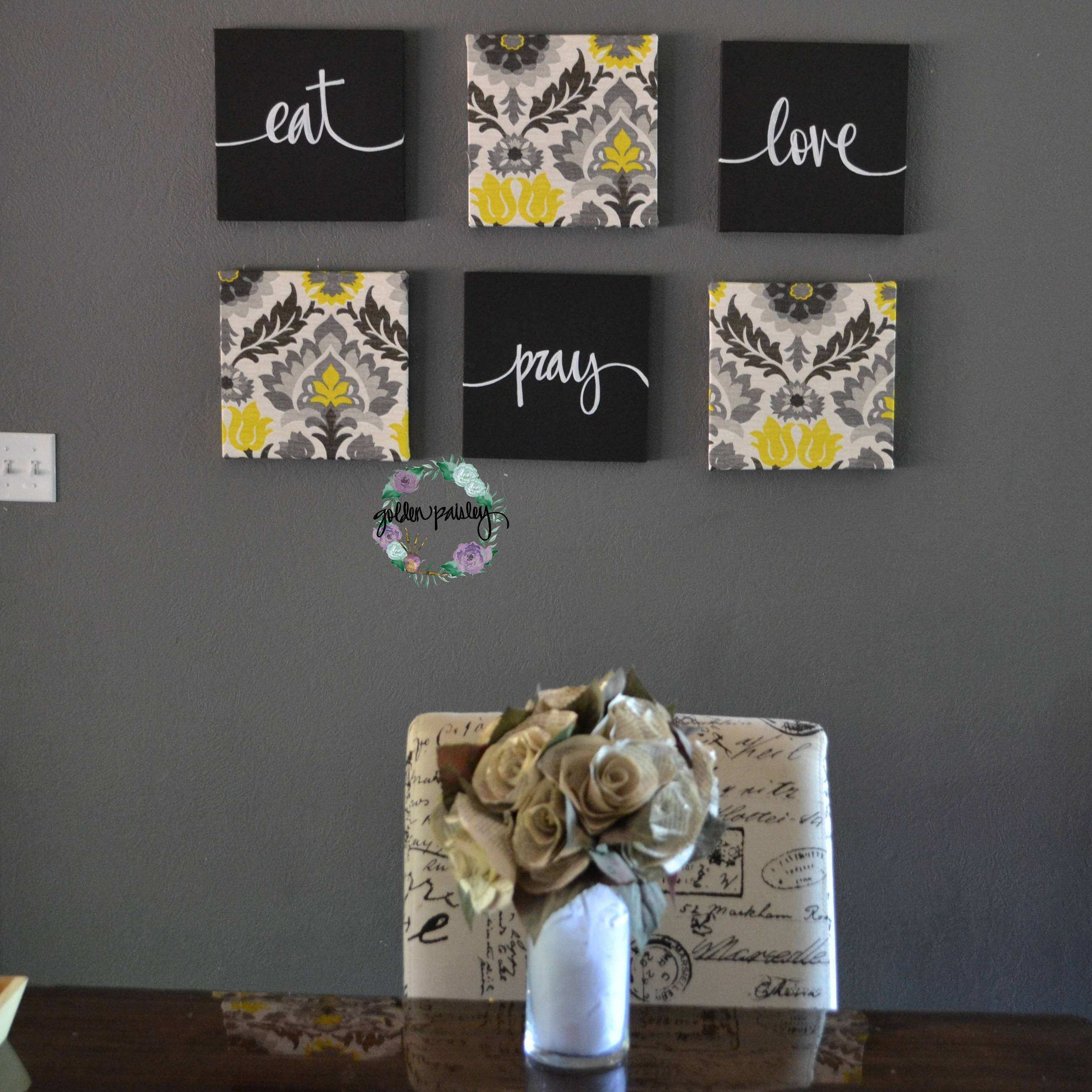 Eat Drink Be Merry Wall Decor Yellow Black Wall Art Set Canvas