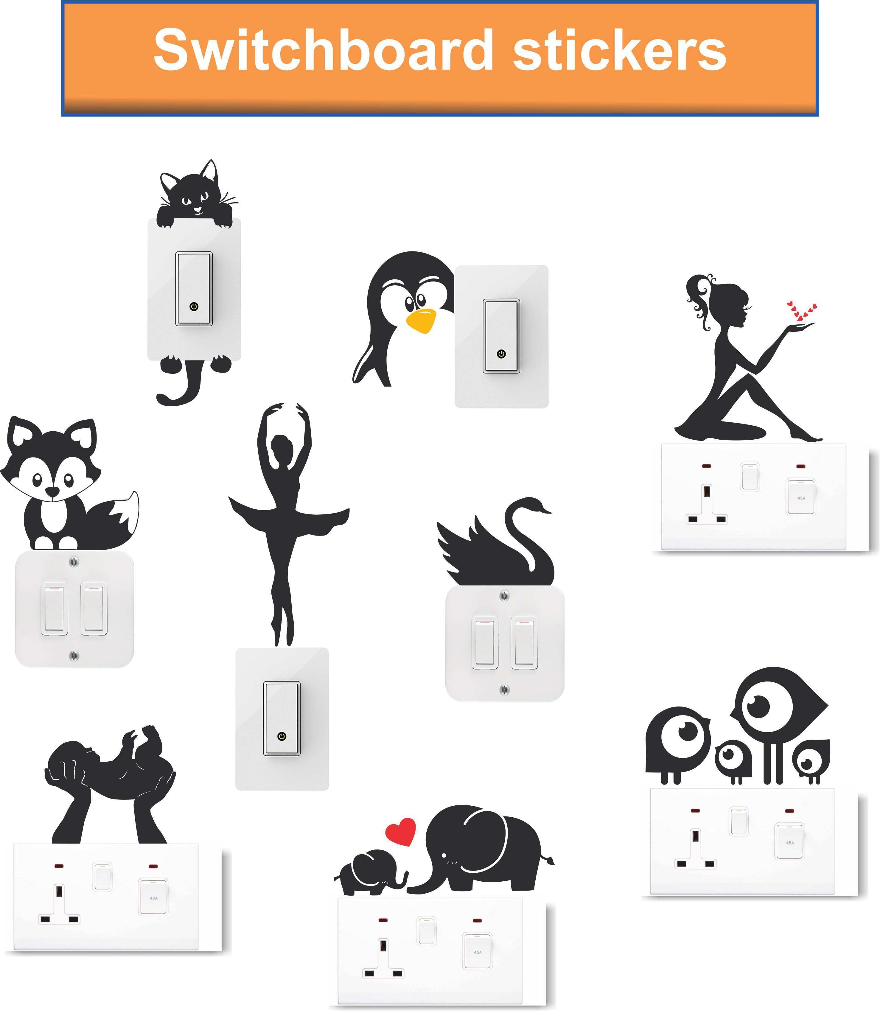 wall dreams Girls and animal Vinyl Switch Board Sticker Pack of 9