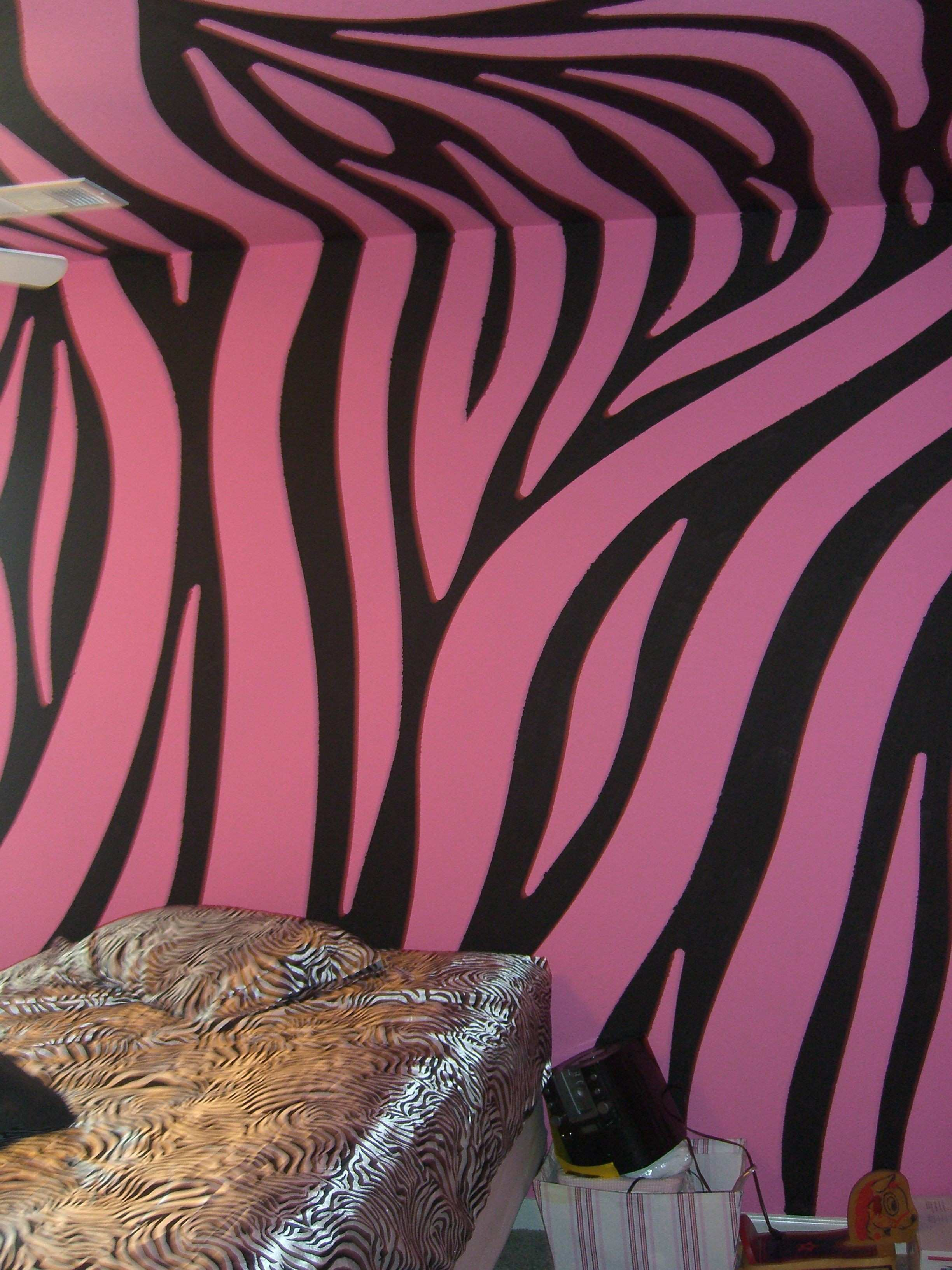 Super cool pink and black zebra walls painted by Chris w