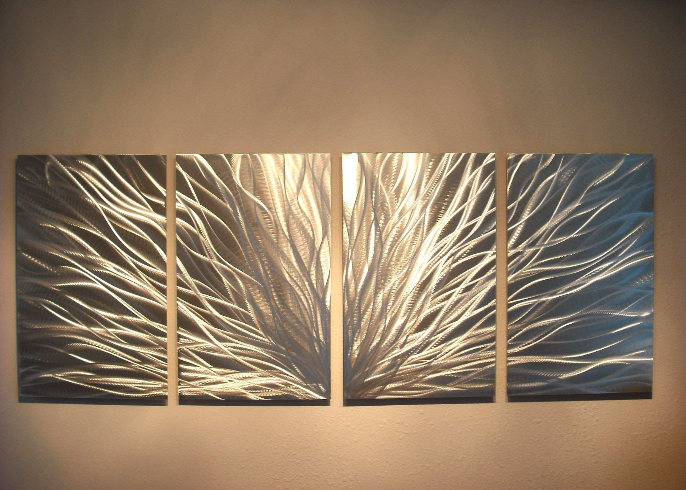 Metal Wall Art Contemporary Modern Abstract Decor Radiance Silver